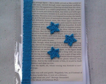 A Christmas Carol Literary Greetings Card with detachable Bookmark - tiny blue stars