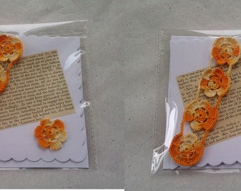 Little Women Literary Greetings Card with detachable orange flowers Bookmark