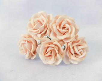 5 35mm light peach rose paper roses - round - 3.5 cm mulberry roses