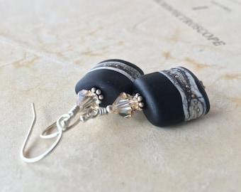 Desert Night Lampwork earrings in sterling silver