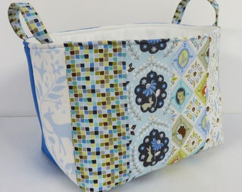 Storage Organization Fabric Basket Container Organizer Bin - Nursery Decor-  Born Wild by Ana Davis and Solid Blue Fabrics