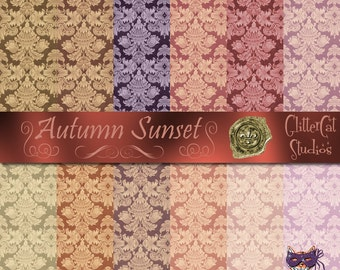 """Digital download Autumn Sunset 12"""" x 12"""" printable scrapbook papers; fall harvest papers; soft colours; hand-made original digital papers"""