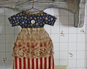 Primitive Folk Art Doll Dress Ornie Digital PDF Pattern, Home Decor,Doll Dress Ornament