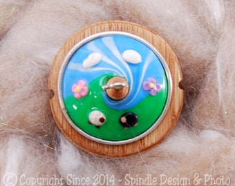 The Clay Sheep Drop Spindle - Sheep Swirl Top Whorl Drop Spindle - Small .94 oz