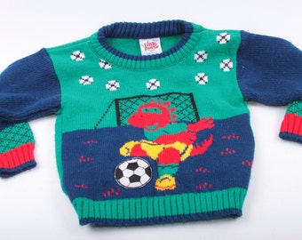 Vintage Baby Clothes, Sweater, Dinosaur, Soccer, Knit, Little Funky, Made in USA, 18 Mo. ~ The Pink Room ~ 161231