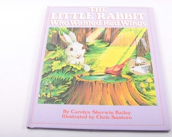 The Little Rabbit who Wanted Red Wings, Carolyn Baily, Forest Animals, Children's Book, Bunny, Cute, Vintage Book ~ The Pink Room ~ 170304