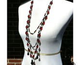 Crimson and Black Teardrop Gothic Long Rosary Necklace