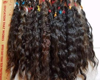 """F179 Lustrous Brushed Bundled Washed 6.5-7.5"""" Natural mohair Locks from Milagro  .8 oz"""