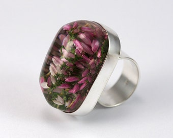 Heather Resin Ring, Sterling Silver Ring, Resin Ring, Nature Jewelry, Heather Jewelry, Heather Ring, Flower ring