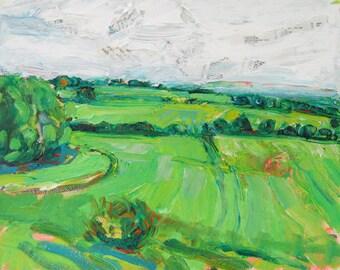 Tracks orginal acrylic mixed media landscape painting by Polly Jones
