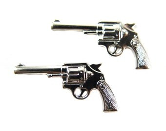 Medium Rhodium Plated Pistol Gun Charm (2X) (M622-B)