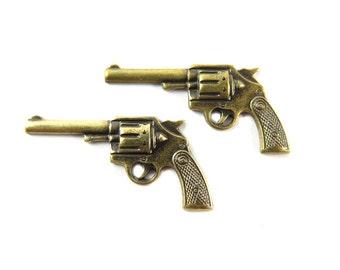 Medium Antiqued Brass Pistol Gun Charms (2X) (M622-E)