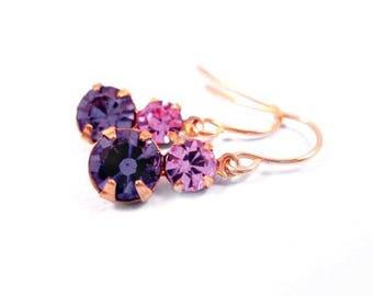 Rhinestone Earrings, Lavender and Amethyst Crystal Rhinestones, Gold Dangle Earrings, FREE Shipping U.S.
