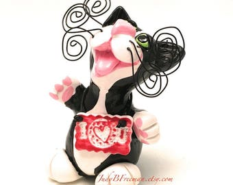 Cat Figurine Black and White Tuxedo Kitty Polymer Clay Handmade Sculpture Made to Order I Heart You CTP00012