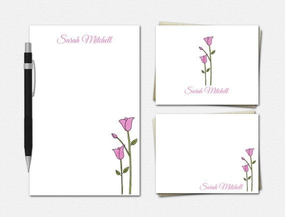 Personalized Tulip Stationery Set - Personalized Stationery - Floral Stationery - Tulip Stationary - Stationary for Women - Tulip Stationery
