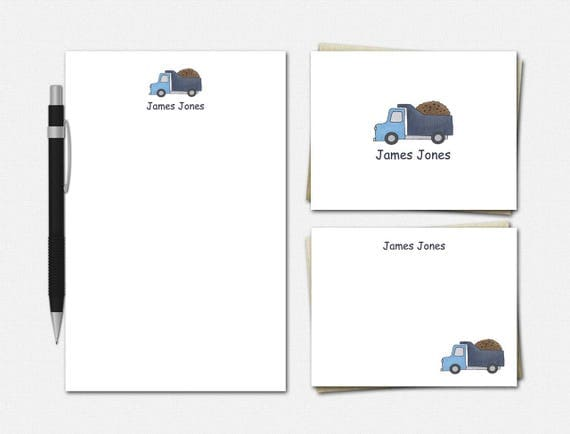 Personalized Dump Truck Stationery Set - Dump Truck Stationery - Stationery for Boys - Dump Truck Stationery Set