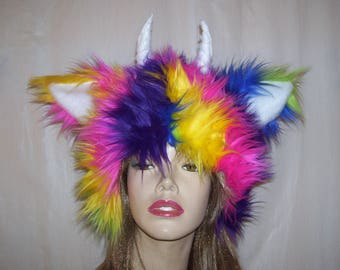 Rainbow Monster Hat Furry Pride Gay March Hat Ears Halloween Costume Colorful Striped Fur Head Piece Costume Adult Unisex Rainbow Fur Hat