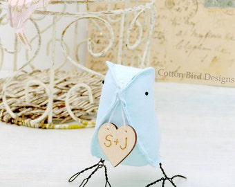 Cotton Anniversary Plain Colour Love Bird with heart to personalize with  your initials