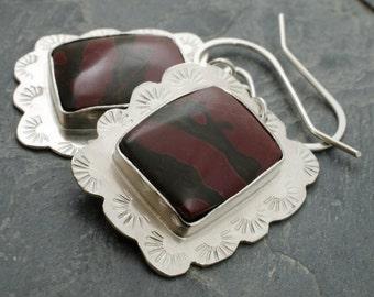 Gemstone Earrings. Cherry Creek Jasper Sterling Silver Earrings. Cabochon Silver Jewelry. Romantic Jewelry.