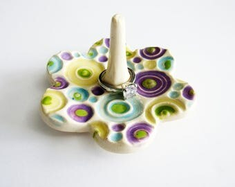 Multicolor Ring Dish, Polka Dots, Ring Holder Dish