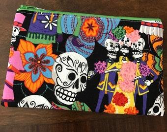 Zipper Pouch - Pencil Pouch - sugar skulls - dia de los muertes