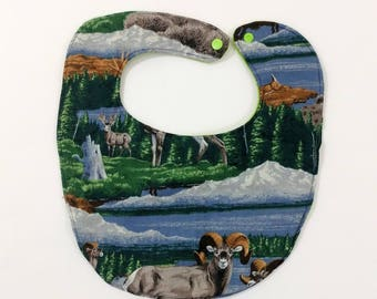 Baby Bib, Baby Feeding Bib, Toddler Feeding Bib, Newborn Gift, Shower Gift, New Baby, Wildlife Ram Cotton & Fleece Baby Bib