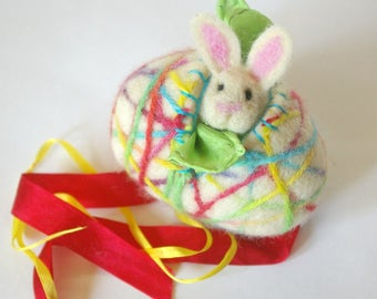 Easter Egg Toy: Sweet Something in 'Entwined' (Silk and Wool Hollow Egg with Playsilk and Chick)