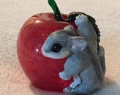 Sugar Glider on a Glass Apple Paper Weight