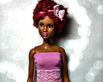 Handmade Barbie Doll Clothes - Pink Confetti Skirt and Top for Barbie
