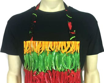Jalapeño and Hot pepper Apron Chef Style , Adjustable with pocket , Mexican Restaurant Kitchen Decor , Rainbow of Peppers