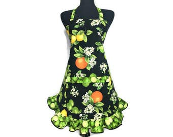 Lemon Lime Apron for women , Citrus Fruits and flowers with retro style ruffle , Adjustable with pocket / Citrus Kitchen decor / Pin Up Girl