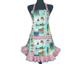 Retro Kitchen Apron for Women , Aqua with Red and white check ruffle , Rustic Cabin decor , RV / Camping / Vintage Pin Up Girl Style