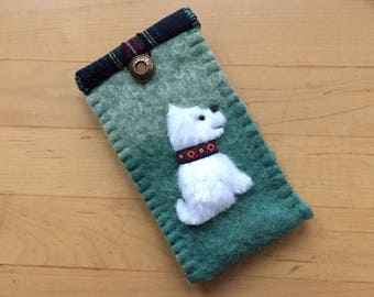 Westie Dog Eyeglass / Sunglass Case - Vintage Wool & Faux Fur, Flannel Lined