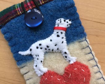 Dalmatian Dog Eyeglass / Sunglasses Case, Vintage Wool