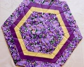 Quilted Hexagon Large Candle Mat, Table Topper, Centerpiece, Purple Iris, Handmade Table Linens