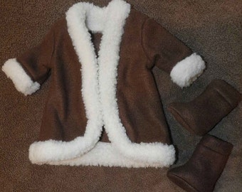 Doll Clothes Brown Fleece Coat and Boots with Wool Faux fur Trim fit 18 inch dolls