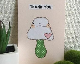 Origami Paper Collage Illustration - Ugly Cute Handmade Card - Thank You Mushroom - Whimsical Art, OOAK