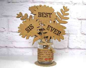 Gifts For Sister You Can Personalize BEST SIS EVER Cardboard Bouquet In Mini Mason Jar Flowers