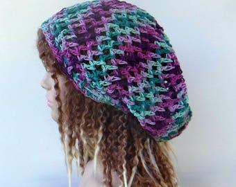 Cotton summer slouchy beanie hat, berry mint hippie Bohemian hat, small dread tam hat, slouchy hat, snood beanie, woman hat handmade