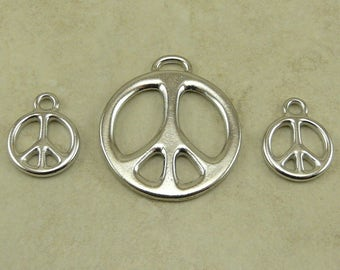 3 TierraCast Peace Sign Pendant & Charm Mix Pack / Love Hippy World Activist Rhodium Silver Plated Lead Free Pewter Ship Internationally a8