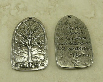 Tree of Life Green Girl Charm Link - Thoreau Quote Walden Tranquility Bodhi Mother Nature - American Artist Made Lead Free Pewter Silver 438