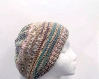 Knit beanie beret hat multicolor stripes for men and women   4767
