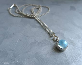 Simple Dainty Gemstone Blue Topaz Necklace on Sterling Silver Chain