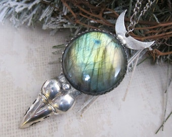 The Morrigan and the Moon - Talisman Necklace with Crow Skull, Green Labradorite, and Crescent Moon