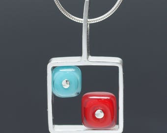 Red and Turquoise Square Necklace - Everyday Necklace, Modern Necklace, Colorful Necklace, Glass and Silver Necklace