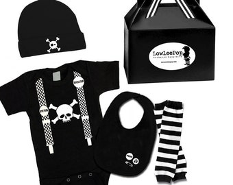 Baby Boy Rockstar Kit Skull & Suspenders black romper leg warmers hat Bib
