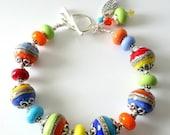 ON SALE Lampwork Bracelet, Primary Colors, Red, Blue, Aqua, Yellow, Lime Green, Orange, Silver Bracelet, Beaded Jewelry, OOAK, Summer Splash