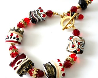 Lampwork Bracelet, Red, Black, Gold Jewelry, Swarovski Crystals, Holiday Jewelry, Beaded Bracelet, Dots, Swirls, Gift for Her, OOAK
