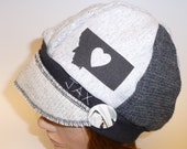 Jax Hats Montana - Montana love hat - 3 shades of grey hat - recycled sweater hat - womens hat - winter fashion hat - Christmas gift for her