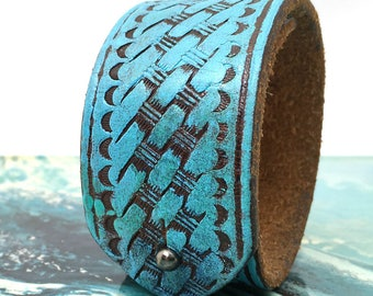 Cyan Blue Tooled Leather Cuff Bracelet with Adjustable Closure, Leather Wristband, Recycled Belt Jewelry Armband, Seattle Handmade, OOAK